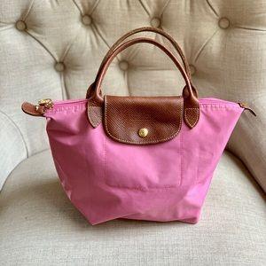 Small pink long champ nylon tote